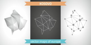 Kosovo set of grey and silver mosaic 3d polygonal maps. Graphic vector triangle geometry outline shadow perspective maps. Set of Kosovo polygonal mosaic modern Royalty Free Stock Photography