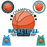 Set koszykówki mistrzostwa logo wektor Zdjęcie Stock