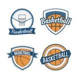 Set koszykówka rocznika projekta etykietki Zdjęcia Stock