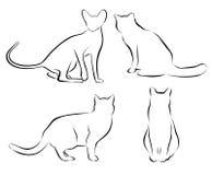 Set kotów obwody odosobniony ilustracja wektor