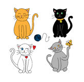 Set koty na białym tle Obraz Stock