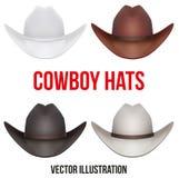 Set kowbojscy kapelusze Odizolowywająca wektorowa ilustracja Obrazy Stock