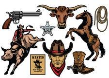Set kowbojscy przedmioty royalty ilustracja