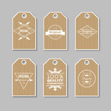 Set of kraft labels for sale, discounts, advertising, quality product. Vector illustration. Logo design Stock Photos