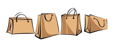 Set of kraft paper bags for shopping in retro style. Isolated objects on white background.  royalty free illustration