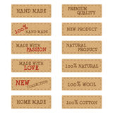 Set of kraft paper labels or stickers for hand made products Royalty Free Stock Image