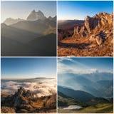 Set krajobrazy z górami Zdjęcia Royalty Free