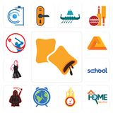 Set of krave, home inspection, odometer, earth hour, grim reaper, school, little black dress, penrose, batsman icons. Set Of 13 simple  icons such as krave, home Stock Images