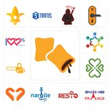 Set of krave, made in france, resto, nargile, handicraft company, four  hearts, chainsaw, peoples, 100 satisfaction icons. Set Of 13 simple  icons such as krave Stock Images
