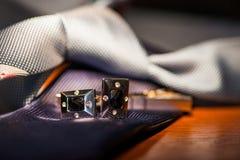 Set krawat i cufflinks Zdjęcia Royalty Free