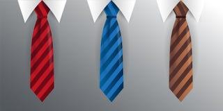 Set krawat, krawat na szarym tle również zwrócić corel ilustracji wektora Zdjęcie Stock