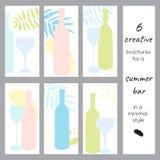 Set kreatywnie broszurki dla baru lub alkoholu sklepu Zdjęcia Royalty Free