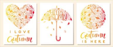 Set kreatywnie jesieni karty Obrazy Royalty Free