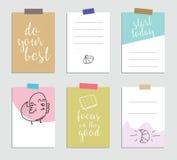 Set kreatywnie 6 journaling kart również zwrócić corel ilustracji wektora Szablon dla powitania scrapbooking, planista, gratulacj ilustracja wektor