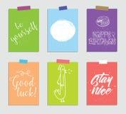 Set kreatywnie 6 journaling kart również zwrócić corel ilustracji wektora Szablon dla powitania scrapbooking, planista, gratulacj royalty ilustracja