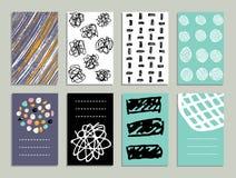 Set 8 Kreatywnie kart z handdrawn atrament teksturami Zdjęcia Stock