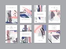 Set kreatywnie ogólnoludzkie kwieciste karty w modnym stylu z ręką Obraz Royalty Free