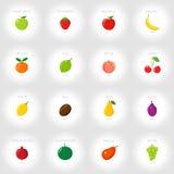 Set kreskówek ikony świeże owoce abstrakcyjny tło również zwrócić corel ilustracji wektora Obraz Stock