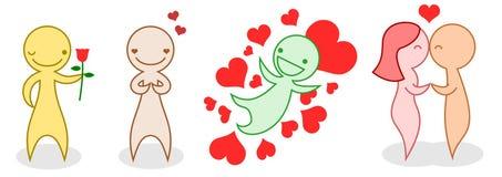 Set kreskówek ludzie w miłości. Obrazy Stock