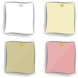 Set kreskówek notatki dołączał pushpin Fotografia Stock