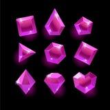 Set kreskówek purpury, menchia różni kształty krystaliczni Zdjęcia Stock