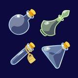 Set kreskówek Szklanych butelek napój miłosny Fotografia Stock