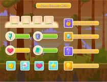 Set kreskówka guziki dla przypadkowych gier Graficzny interfejs użytkownika, wektorowa ilustracja Zdjęcie Stock