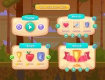 Set kreskówka guziki dla przypadkowych gier Graficzny interfejs użytkownika, wektorowa ilustracja Zdjęcia Stock