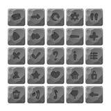 Set kreskówka kamień zapina z sieci ikonami Zdjęcia Stock