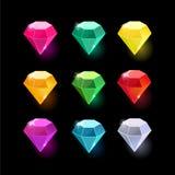 Set kreskówka koloru różni kryształy Obrazy Stock