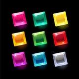 Set kreskówka kwadrata kształtów różni kryształy Obraz Stock