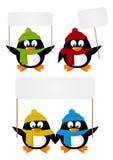Set kreskówka pingwiny z papierowymi kartami royalty ilustracja