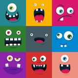 Set kreskówka potwora śliczne twarze Płaska wektorowa ilustracja ilustracja wektor