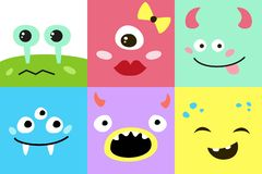 Set kreskówka potwora twarze royalty ilustracja