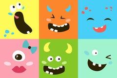 Set kreskówka potwora twarze ilustracji
