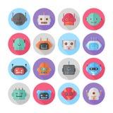 Set kreskówka robota płaskie ikony Fotografia Stock
