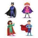 Set kreskówka super bohaterzy Chłopiec i dziewczyny w bohaterów kostiumach Zdjęcie Royalty Free