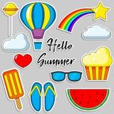 Set kreskówki łaty odznaki Cześć lato Fotografia o chmurach, tęcza, gwiazdy, szkła, arbuz, lody Wektor odosobniona bolączka Obraz Royalty Free