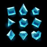 Set kreskówki błękita różni kształty krystaliczni Obrazy Stock