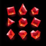 Set kreskówki czerwieni kształtów różni kryształy Obrazy Royalty Free