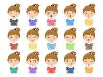 Set kreskówki dziewczyny twarzy śliczne caucasian emocje Fotografia Royalty Free