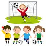 Set kreskówki piłki nożnej dzieciaki z różną pozą royalty ilustracja