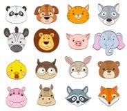 Set kreskówki zwierzęcia twarze na bielu dzieci zwierząt symboli/lów drawi Zdjęcie Stock