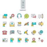 Set kreskowe nowożytne kolor ikony dla kontaktu, komunikacja, środki ilustracji
