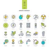 Set kreskowe nowożytne kolor ikony dla zielonej energii Zdjęcia Stock