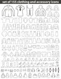 Set Kreskowe Ubraniowe ikony Obrazy Royalty Free