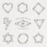 Set kreskowej sztuki tatuażu stylu niemożliwi kształty Zdjęcie Royalty Free