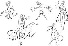 Set kreskowi doodle nakreślenia kobieta zakupy Zdjęcie Royalty Free