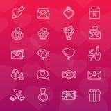 Set 20 kreskowych ikon pary dzień ilustracyjny kochający valentine wektor Zdjęcie Stock