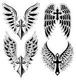Set Kreuz und Flügel - Tätowierung - Elemente Lizenzfreies Stockbild